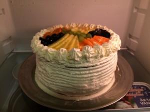 Den fullständigt fantastiska tårtan vi fick efter middagen på lördagen.